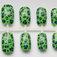 Cheetah or Leopard Print Fake Nails in ANY COLOR - False, Artificial, Acrylic, Press-On