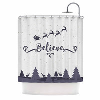 "Famenxt ""Christmas Believe"" Gray Lavender Illustration Shower Curtain"
