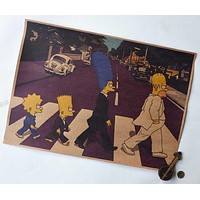 Retro Posters For Walls Vintage Simpson On the Road Cartoon Paper Wall Posters Decoration wall stickers home decor Free shipping