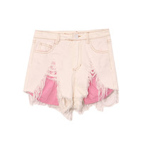 color stitching hole ripped denim shorts