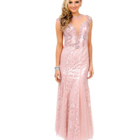 Rose Pink Lace Crystal Beaded Illusion Cap Sleeve Fitted Mermaid Gown 2015 Prom Dresses