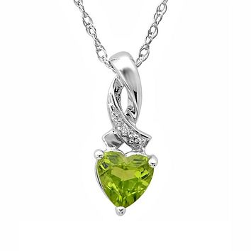 Heart Shape Peridot and Diamond Pendant in Sterling Silver