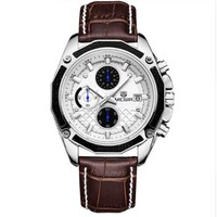 Genuine Leather Chronograph Watch Clock for Gentle Men