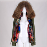 Short Multi Color Fox Fur Parka Coat Arm Green Jacket
