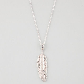 Full Tilt Rhinestone Feather Pendant Necklace Silver One Size For Women 26160714001