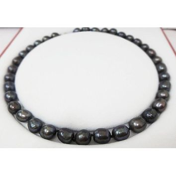 Vintage Baroque Tahitian Black 9mm Pearls 18 inch Necklace