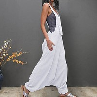 Women Jumpsuits Plus Size U Neck Sleeveless Backless Side Pockets Baggy Long Jumpsuits Ladies Romper Womens Jumpsuits Overall#35