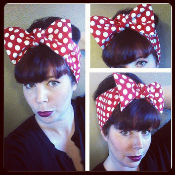 Red with White Polka Dots Headwrap Bandana Rockabilly Hair Big Bow Tie 1940s 1950s Vintage Style - Rockabilly - Pin Up - For Women, Teens