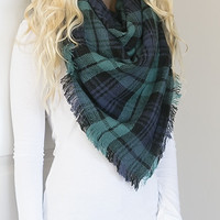 Mountain View Plaid Blanket Scarf