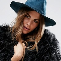 Brixton Suede Structured Hat in Teal at asos.com