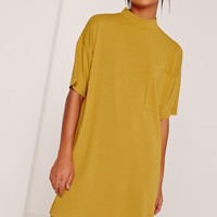 Missguided - Ribbed Pocket Dress Yellow