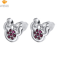 925 Sterling Silver Minnie Pattern Stud Earrings With Cubic Zirconia For Women Wedding Party Birthday Fashion Earring Jewelry
