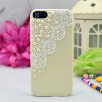 Ivory beige Pearl Lace iPhone 4 4s Case by fashioniphonedesigne
