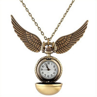 Harry Potter Snitch Watch Pendant Necklace Steampunk Quidditch Wings Clock Gift for kids Cosplay