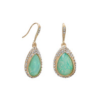 Gold Tone Fashion Earrings with Iridescent Green Drops and Crystal