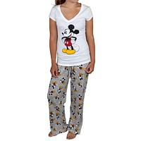Mickey Mouse - Mickey Love Juniors V-Neck Pajama Set