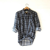 Vintage Plaid Flannel / Grunge Shirt / Boyfriend button up shirt / Tomboy flannel