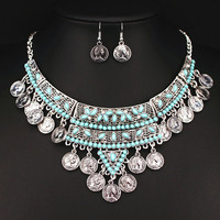 2016 Gypsy Bohemian Boho Jewelry Vintage Turquoise Necklace Antique Silver Coin Tassels Necklaces & Pendants for Women X1622