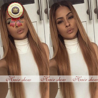 Virgin Brazilian Ombre Full Lace Wigs Human Hair Unprocessed Two Tone #1b/#27 Blonde Human Hair Wigs Glueless Lace Front Wigs