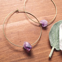 Ebb & Flow Amethyst Crystal Hoops