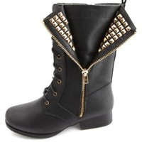 Studded & Unzipped Combat Boots by Charlotte Russe