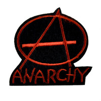 Red Anarchy Sign Patch Iron on Applique Thrasher Clothing DGK