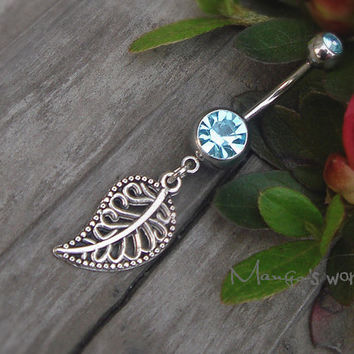 Leaf Belly Button Ring- Crystal Belly Ring- Silver Leaf Charm Dangle Navel Piercing Bar Barbell- B010