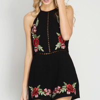 Black Floral Embroidered Halter Romper
