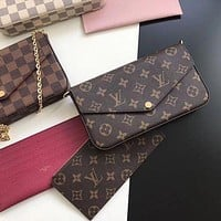 LV Louis Vuitton Classic Three-piece Suit Fashion Lady One Shoulder Messenger Bag Mahjong Bag Coin Purse