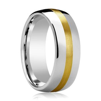 Domed Tungsten Wedding Band for Men with 14k Yellow Gold Stripe Inlay Polished Finish - 6MM - 8MM