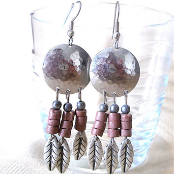 Vintage 70's Hammered Silver Concho Earrings w/ Stacked Rust Stones & Silver Leaf Dangles, Southwestern Native American Tribal Inspired Gift