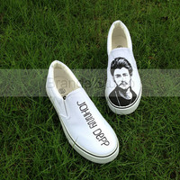 Christmas Gifts-Johnny Depp On Slip On Sneakers, Studio Hand Painted Shoes Custom Canvas Shoes,hand painting,Sneakers