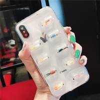 LOVECOM 3D Cute Capsule Pills Person Phone Case For iPhone X 6 6S 7 8 Plus Transparent Soft TPU Back Cover Cases Coque