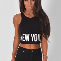 Selter Black Cropped New York Top   Pink Boutique