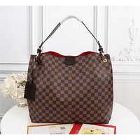 LV Louis Vuitton Women Leather Shoulder Bags Satchel Tote Bag Handbag Shopping Leather Tote Crossbody Satchel