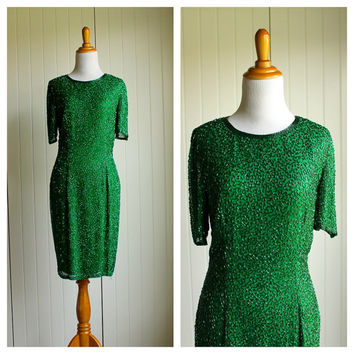 Vintage 80s Green Beaded Oleg Cassini Party Cocktail Dress// Holiday Party Prom Dress// Evening Dress