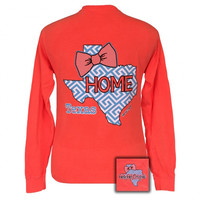SALE Girlie Girl Originals Texas Preppy State Bow Comfort Colors Long Sleeve T Shirt