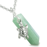 Amulet Turtle Lucky Charm Crystal Point Green Quartz Pendant 22 Inch Necklace