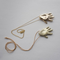 Gilded Hand Necklace, solid brass or bronze