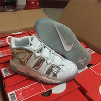 Nike Air More Uptempo White/Silver Size 36-----45