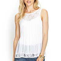 LOVE 21 Pleated Lace Top Ivory