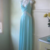Gorgeous Vintage Sheer Inset Nightgown in Princess Box Blue - Long Turquoise Nightgown; XS-Small - Long Robin's Egg Blue Honeymoon Gown