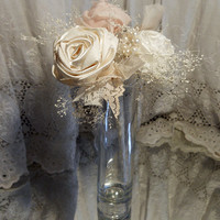 Petal Pink and Ivory Small Long Stem Bridesmaid Bouquet or Flowergirl Wand. Can also be used as table flowers.