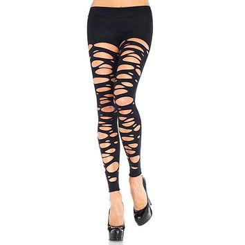Shred It Black Tattered Distressed Footless Tights Stockings Hosiery