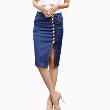 CREY78W Hot Design 2017 Summer Sexy Women Fashion Denim Jeans Pencil Skirts Sexy Single Breasted Knee Length Skirt Plus Size