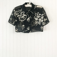 vintage 1990s sheer black & ivory floral print draped ultra short crop top grunge club blouse // ultra see through // size S