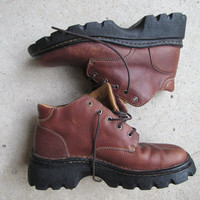 Vintage 80s 90s Leather Hiking Boots Unisex Brown Shoes