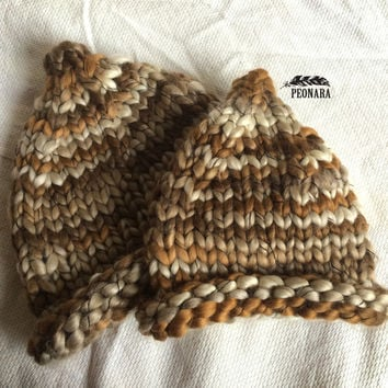 Brown Super bulky Cone knitted Beanies