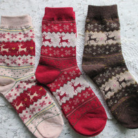 Women's WOOL Socks, CHRISTMAS Socks, Stocking Stuffers,Deer, Snowflake Socks, Cozy!!!!!