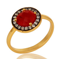 18K Yellow Gold Plated Sterling Silver Red Aventurine Stackable Ring With CZ
